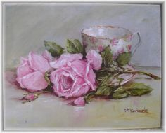Ready to Frame Print - Tea Cup and Roses - Postage is included Worldwide