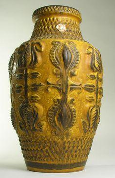 LARGE FLOOR VASE Bay West German Pottery 20 th Mid Century Modern Vintage Retro #Vases