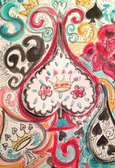 June 26. Spade and crown pattern. Watercolor and marker on paper.
