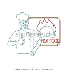 Retro style illustration showing a neon sign light signage lighting of a chef, cook or baker with thumbs up beside dish on flames or fire with sign Hot Food on isolated background. Neon Stock, Signages, Sign Lighting, Retro Style, 1990s, Retro Fashion, Royalty Free Stock Photos, Dish, Symbols