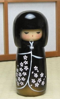black kimono with white flowers