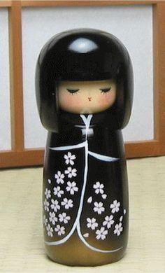 black kimono with white flowers