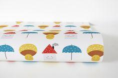 Geschenkpapier - ♥Geschenkpapier PilzSchirmHaus♥ 50x70cm - ein Designerstück von avaundyves bei DaWanda