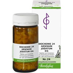 BIOCHEMIE 24 Arsenum jodatum D 6 Tabletten:   Packungsinhalt: 200 St Tabletten PZN: 04325710 Hersteller: Bombastus-Werke AG Preis: 4,13…