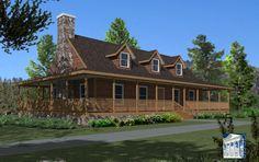 Cape Cod Log house with wrap around porch!!!