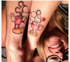 Awesome matching tattoo that me and Daj are going to get similar to one day :) Matching Disney Tattoos, Cute Matching Tattoos, Cute Couple Tattoos, Disney Couple Tattoos, Pretty Tattoos, Beautiful Tattoos, Cool Tattoos, Time Tattoos, Body Art Tattoos