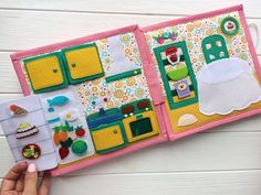 This Dollhouse Quiet book is for girls 3+ years. Size is 22*22 cm, 4 plots (8 pages), more than 60 removable pieces. Interesting sensorial book. Also velcro, buttons, plastic mirror and wooden parts. The girl made of felt could have any color. You also choose a pet: horse, dog, cat, etc. All books has its unique name and appearance. The thread quiet book helps children to have first education by Montesori. All games and plots here made to be entertaining and joyful for both parents and kids…