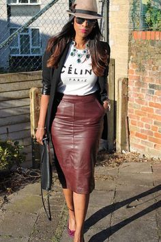 Discover this look wearing Leather Midi Asos Skirts, Trilby Topshop Hats - Celine & Oxblood by londontallgirl styled for Leather, Lunch Date in the Fall Burgundy Skirt Outfit, Winter Skirt Outfit, Classy Outfits, Stylish Outfits, Mode Outfits, Fashion Outfits, Pencil Skirt Outfits, Looks Chic, Mode Style