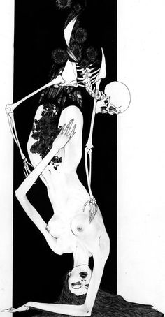 Death and the Maiden. Death grim reaper Father Time scythe maiden girl woman dance danse macabre skull skeleton