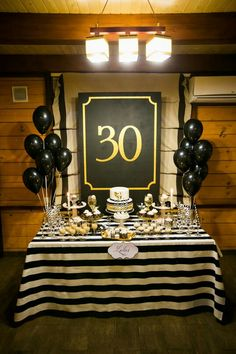 gentleman party, birthday party, black & white, dessert table, sweets, gold candy bar.