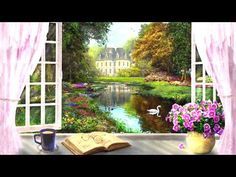 Other Window View Flowers Painting Book Vase Architecture Scenery Art Artwork Landscape Wide Screen Wallpaper Wide Kunst Poster, Earth Design, Widescreen Wallpaper, Cross Stitch Art, Window View, Painted Books, Claude Monet, Heaven On Earth, Home Art