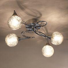 Buy John Lewis Corin Crackly Glass Semi-flush Ceiling Light, 4 Arm Online at johnlewis.com