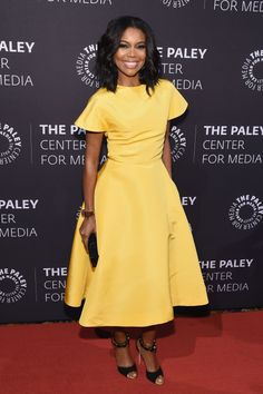 Try a ladylike cut with a bright colored dresses, like Gabrielle Union did in Rosie Assoulin, for a polished take on the look.