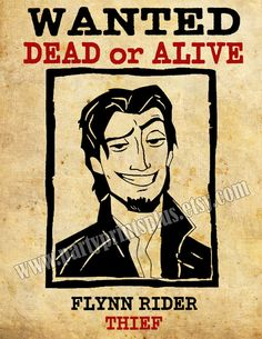 Flynn Rider Wanted Poster Decoration For Disney's Tangled Theme Birthday Party. Printable JPG 8.5x11. Download and Print on Etsy, $1.36