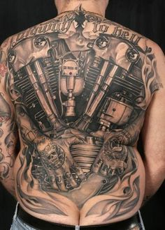 This amazing motorcycle themed backpiece was tattooed by Italy's very own Antonio Poietti. #InkedMagazine #inked #motorcycle #tattoo #tattoos #Ink #art