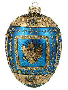 Faberge Inspired Blue Eagle Egg Polish Blown Glass Christmas or Easter Ornament | eBay