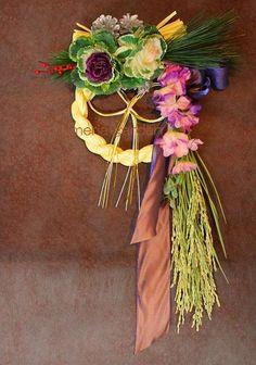 【紅白葉牡丹】こうはくはぼたん世界であなただけのオリジナル迎春「華かざり」ハイブリッド正月飾りおしゃれなしめ縄玄関飾り正月特集迎春飾り玄関入り口♪新年を迎える正月したく用&贈り物にもどうぞ♪