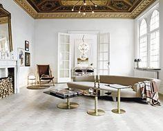 Gold & white, retro, sophisticated, light, living room