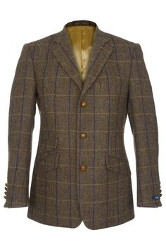 Kennedy Harris Tweed Jacket in brown herringbone.