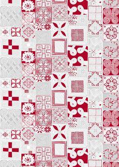 Sydäntalvi (red / silver) - By Lauri Tähkä Heartdesign Fabric Patterns, Fall Winter, Fabrics, Walls, Quilts, Blanket, Silver, Red, Design