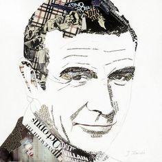 """""""Sean"""" - collage by Ines Kouidis:  Sean Connery;  13.8"""" x 13.8""""      ...notice Queen Elizabeth on his shoulder..."""