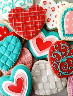 2016 Valentine's Day heart sugar cookies with color icing patterns - Valentine's Day silver mini sprinkles - so greatful! super bowl dip recipes valentine heart cookie cutter for 2016 by diprecipe