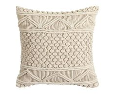 Pernă croșetată Denzzo Toscana, 45 x 45 cm, bej Macrame Curtain, Macrame Bag, Macrame Cord, Macrame Knots, Knit Pillow, Easy Knitting Patterns, Macrame Design, Macrame Tutorial, Macrame Projects