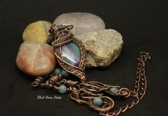 Copper wrapped blue and pink agate necklace with hand forged links