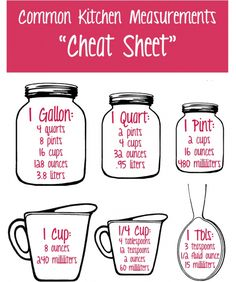 Here's a little cheat sheet I found to make your measurement conversion life a little easier!