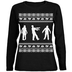 Sasquatch Ugly Christmas Sweater Green Womens Long Sleeve T-Shirt - X-Large Kids Christmas Sweaters, Holiday Sweaters, Holiday Wear, Christmas Holiday, Ugly Sweater Party, Green Sweater, Dress To Impress, T Shirts For Women, Long Sleeve
