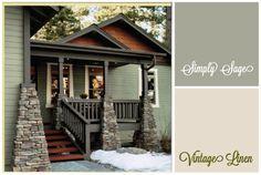 Sage house body, cream trim, dark grey accents.