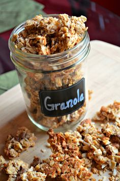 Almond Butter Granola!  What a delicious treat.  no chocolate chips and extra almonds were used!   DELECTABLE!