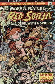 Published by Marvel Comics from 1975 to this series ran for 7 issues and featured early Red Sonja Marvel Comic Character, Marvel Comic Books, Comic Books Art, Comic Art, Conan Comics, Bd Comics, Comics Girls, Red Sonja, Comic Book Artists