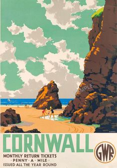Cornwall 'Penny a mile' Posters Uk, Train Posters, Railway Posters, Vintage Advertising Posters, Vintage Travel Posters, Vintage Advertisements, Seaside Art, Tourism Poster, London Transport