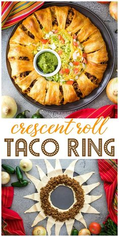 crescent roll cheeseburger ring ~ cheeseburger crescent ring - cheeseburger crescent ring recipes - cheeseburger crescent ring cheeseburgers - bacon cheeseburger crescent ring - crescent roll cheeseburger ring - cheeseburger ring with crescent rolls Mexican Food Recipes, Beef Recipes, Cooking Recipes, Crescent Roll Ring Recipes, Taco Crescent Ring, Dinner Recipes Easy Quick, Quick Easy Meals, Taco Ring Recipe, Taco Dinner
