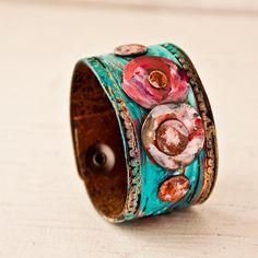 Upcycled Bracelet Gypsy Cuff Hippie Jewelry by rainwheel, $47.00