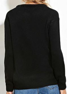 Negro de manga larga de las lentejuelas adornado suéter de Navidad     Fashionerly 68c6ca861595
