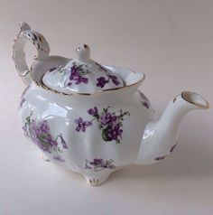 Hammersley England Spode Victorian Violets Purple Gold Embossed Teapot Mint