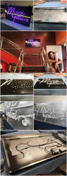 Some process photos and finished photos of a faux neon sign we made for the Hustler Hollywood in Chicago. We used LED tubes that illuminated 360 degrees to mimic neon lettering. Chicago Location, California Location, Hollywood Sign, Arrow Pointing Up, Led Tubes, Led Signs, Large Prints, High Quality Images