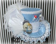 Alice Mini Top Hat, Alice in Wonderland, Mad Hatter Hat, Fascinator, Mini Top Hat, Mini Hats, Alice Tea Party, Wedding Hat, Women Top Hat Alice Tea Party, Tea Party Hats, Tea Parties, Mad Hatter Hats, Mad Hatter Tea, Mad Hatters, Steampunk Hat, Steampunk Necklace, Steampunk Clothing