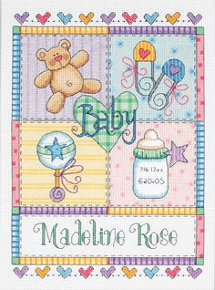 Baby Squares Birth Record Cross Stitch Kit