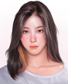 Portrait Vector, Digital Portrait, Portrait Art, Kpop Drawings, Anime Girl Drawings, Anime Art Girl, Couple Drawings, Cover Wattpad, Illustration Vector