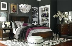Black, white, plum bedroom.