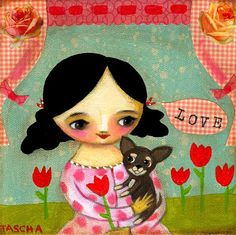 LOVE Chihuahua sweet PRINT of a mixed media collage painting by tascha