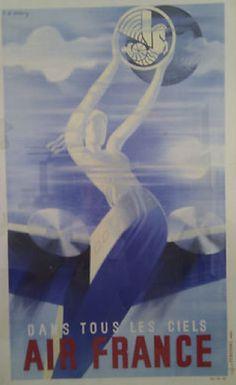 Air France - Dans Tous Les Ciels  affiche réalisée par R.de Valerio en 1935