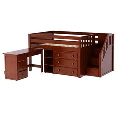 PERFECT2 L or R CP : Low Loft Bed with Staircase, Desk, 3 Drawer & Narrow Bookcase   : Full : Chestnut : Panel
