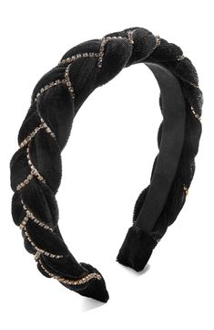 Baublebar Serafina Braided Headband, Size One Size - Black Felt Hair Accessories, Girls Accessories, Pearl Headband, Diy Headband, Headband Hairstyles, Diy Hairstyles, Men's Hairstyle, Wedding Hairstyles, Ribbon Headbands