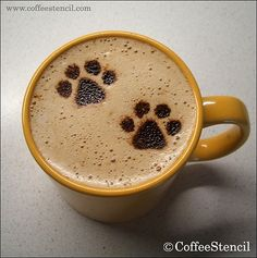 OMG I love coffee...and paw prints! I can't believe this is a thing. http://www.youmustlovedogsdating.com