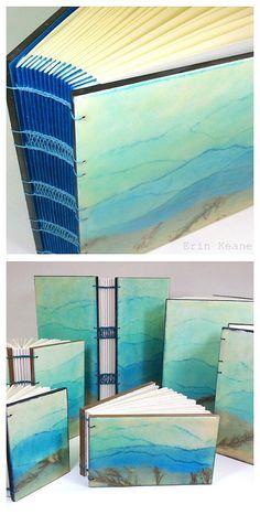 Blue Ridge Mountains #encaustic journals by Erin Keane #bookbinding