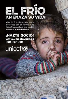 Campaña de publicidad en metrode Madrid para divulgación de la campaña de UNICEFen contra del frío que pasan los niños a causa delconflicto de Siria.